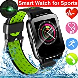 Sport Smart Watch for Men Women, Waterproof Fitness Tracker with Blood Pressure Heart Rate Monitor Call Sedentary Reminder Pedometer, Smart Band Compatible iOS Android Phones for Xmas Holiday (Green)