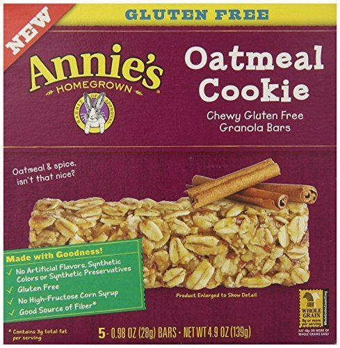Annie's Chewy Gluten Free Granola Bars, Oatmeal Cookie, .98 oz, 5 Count by Annie's Homegrown
