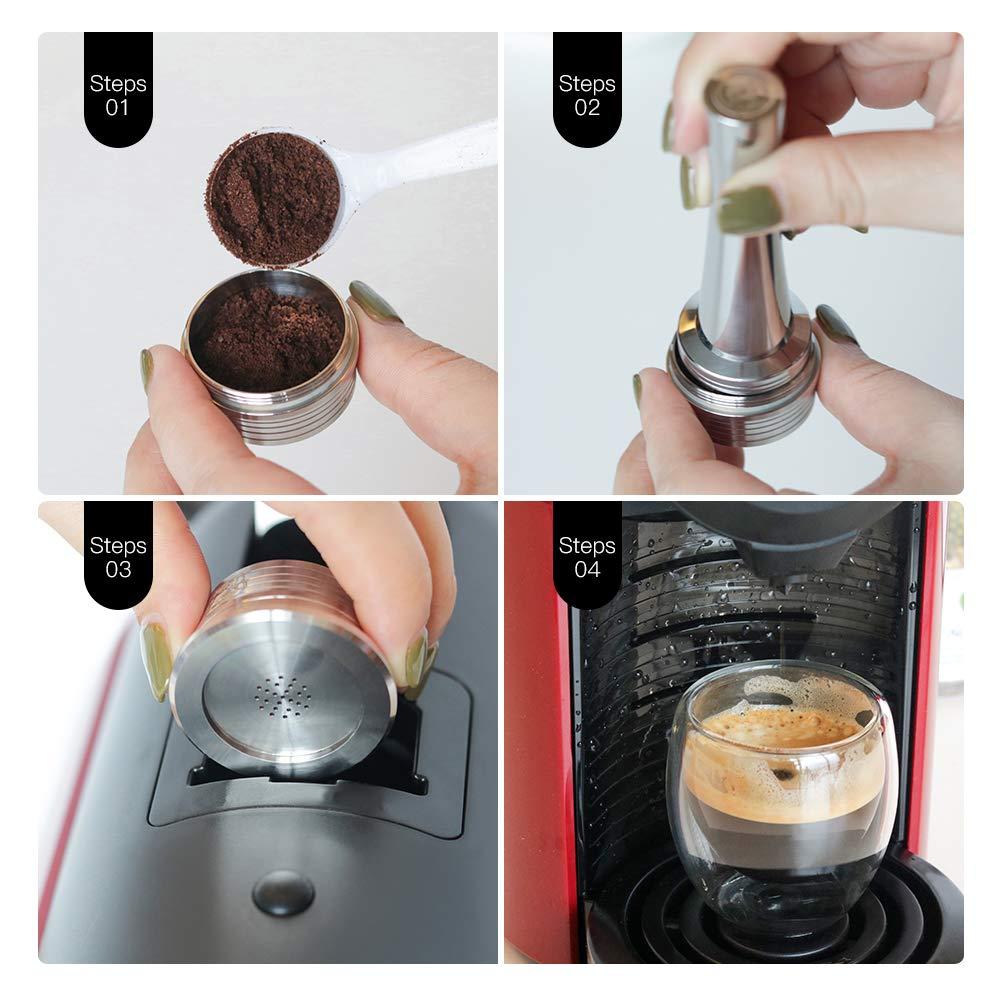 Godyluck C/ápsulas de caf/é Reutilizables de Acero Inoxidable Filtro de Taza de c/ápsula de caf/é Reutilizable Compatible con Delta Q