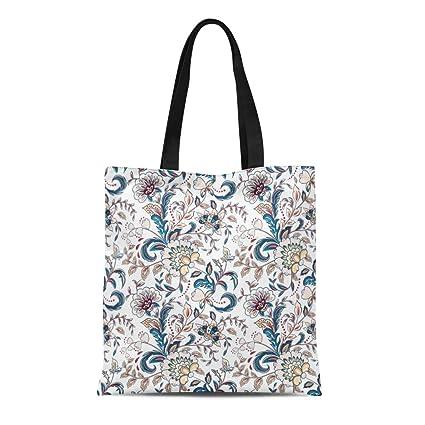 82bbd8ddb68 Amazon.com: Semtomn Cotton Canvas Tote Bag Paisley Vintage Flowers ...