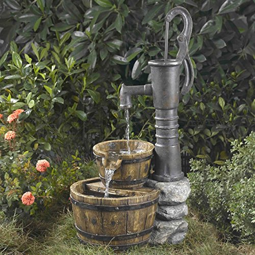 Beautiful Rustic Large Garden Deck Patio Water Pump Buckets Outdoor Fountain   Looks Like Old Hand Pump  Ornate Rustic Realistic Perfect Conversation  Piece ...