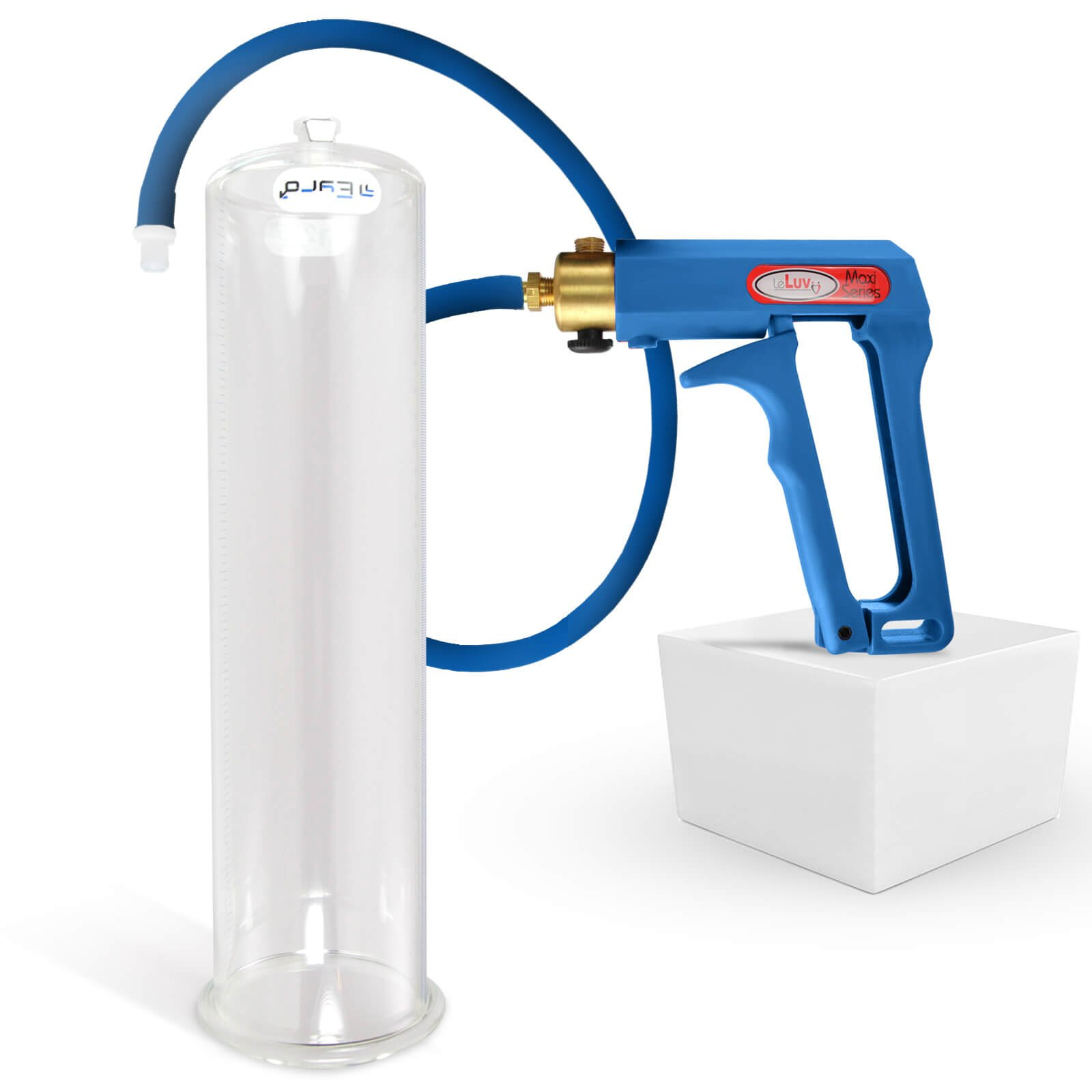 LeLuv Maxi Blue Penis Pump Bundle with Premium Silicone Hose 12 inch x 3.25 inch Cylinder by LeLuv