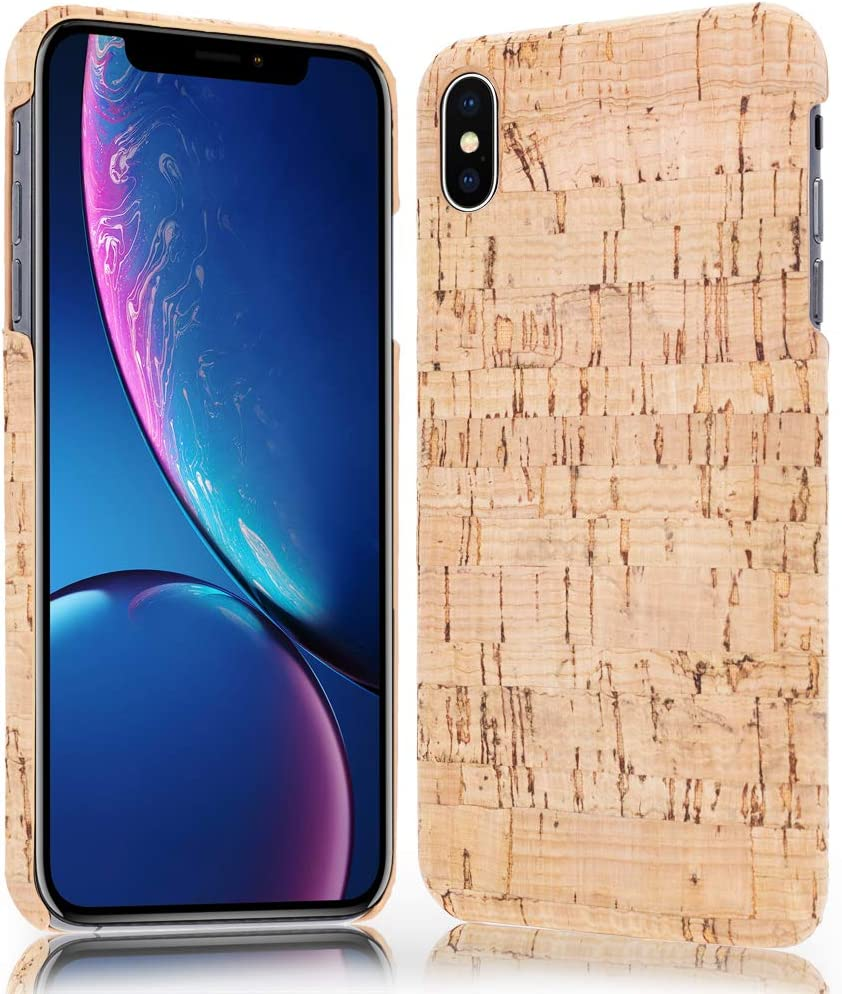 NALIA Cork Case Compatible with iPhone X Xs, Ultra-Thin Wood Look Phone Cover Slim Back Protector Natural Slim-Fit Protective Hardcase Skin Shockproof Bumper, Designs:Light Cork