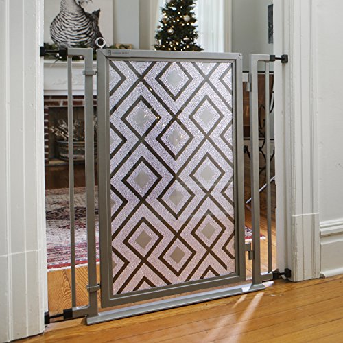 Fusion Gate for Baby & Dogs with Gray Diamonds Art Screen Design (Satin Nickel, 32'' - 36'') by Fusion Gates
