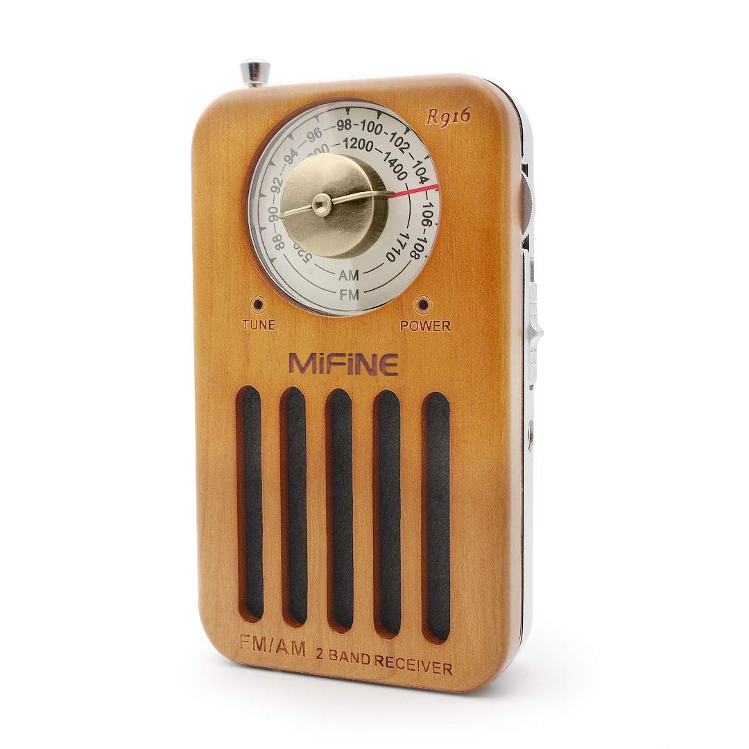 Portable Pocket AM FM Radio - Retro Cherry Wood Battery Operated Radio with Best Reception, Transistor Radio with 3.5mm Headphone Jack for Walking Jogging Gym Camping