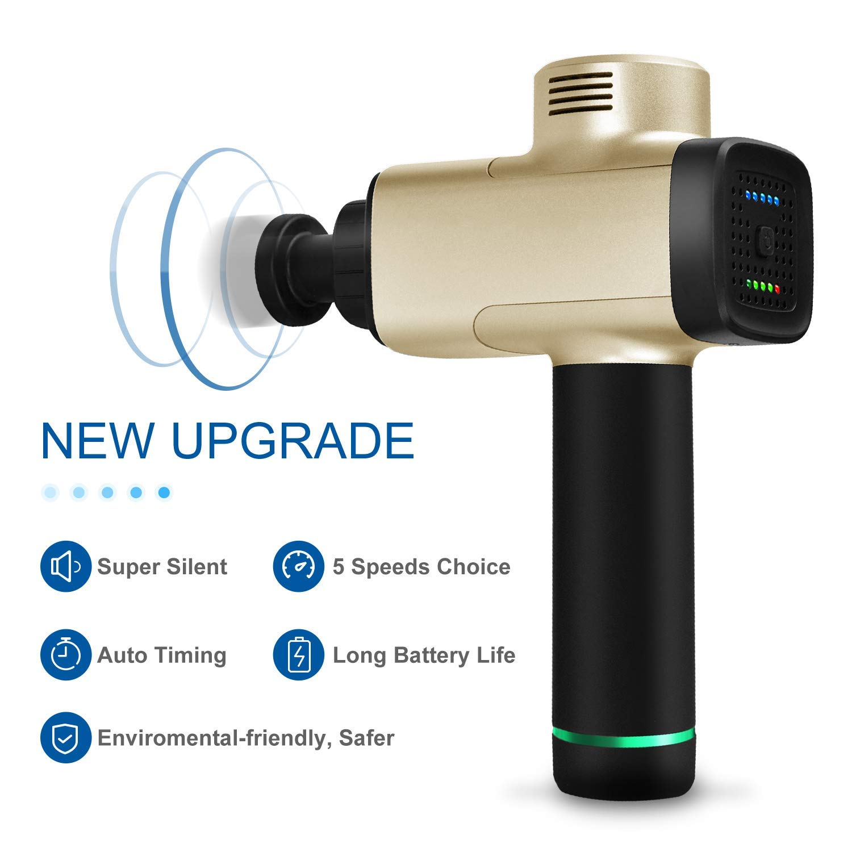 Massage Gun, Cordless Handheld Deep Tissue&Muscle Massager, 5 Speeds Percussion Massage Device Featuring Quiet Glide Technology-Gold