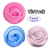 TicTock Fluffy Slime, 150g Blue, Purple, Pink Putty Floam Slime Toys for Kids and Adults Non-Toxic with Decoration Gift- 3 Pack