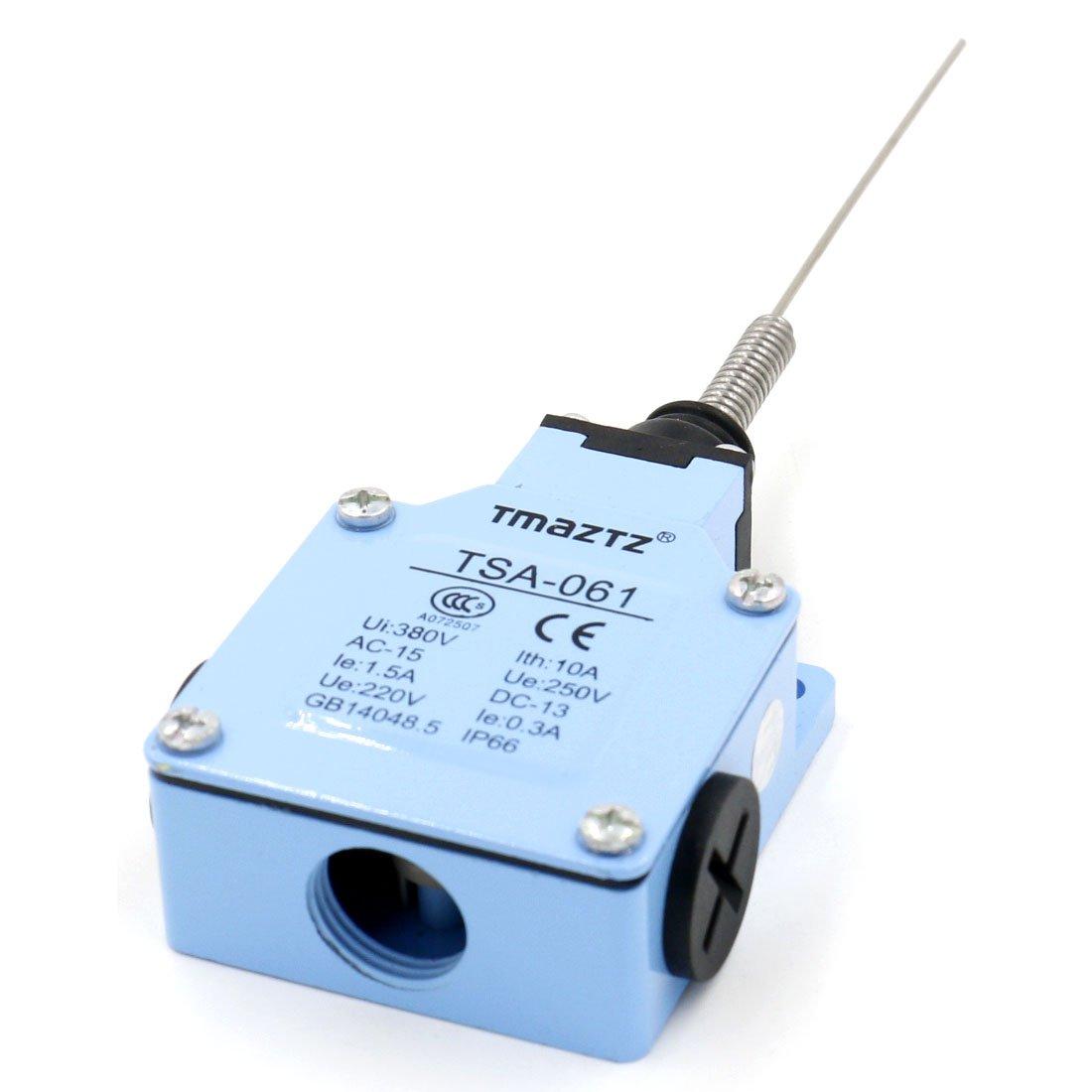 Baomain Limit switch TSA-061 Flexible Spring Arm 250V 15A 1NO, 1NC Momentory for CNC Lathe Milling