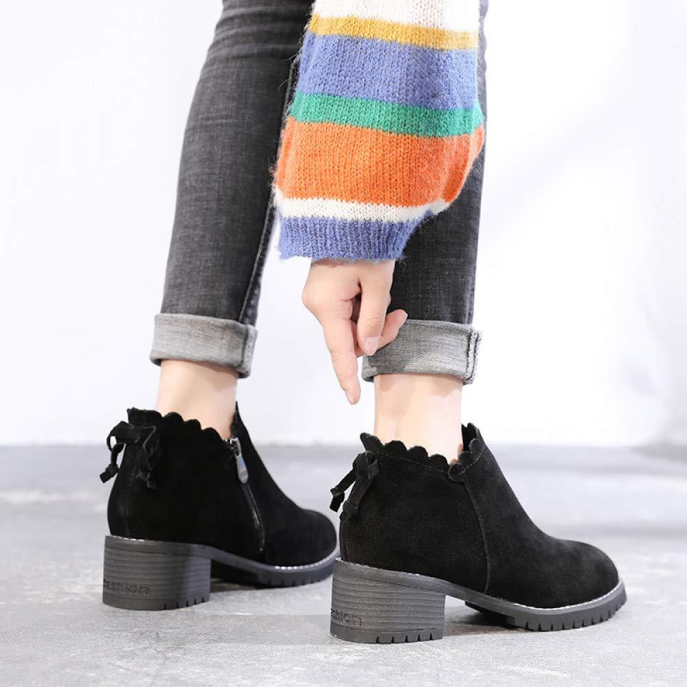 Qingchunhuangtang Scrub-Stiefelfrauen mit dicken Herbst- und Winter-Stiefeln und schwarzen britischen britischen britischen Wind Martin-Stiefel 68d331