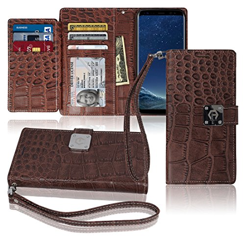 S8 Wallet Case, Matt [ 8 Pockets ] 7 ID / Credit Card 1 Cash Slot, Power Magnetic Clip With Wrist Strap For Samsung Galaxy S 8 Leather Cover Flip Diary (Brown) (Leather Presley Brown)