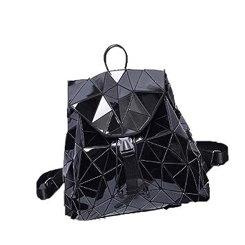 Mochila de Las Mujeres Mochilas de Lentejuelas geométricas de la Tela Escocesa Luminosa para el Bolso de Lazo Mochila holográfica Black: Amazon.es: Equipaje