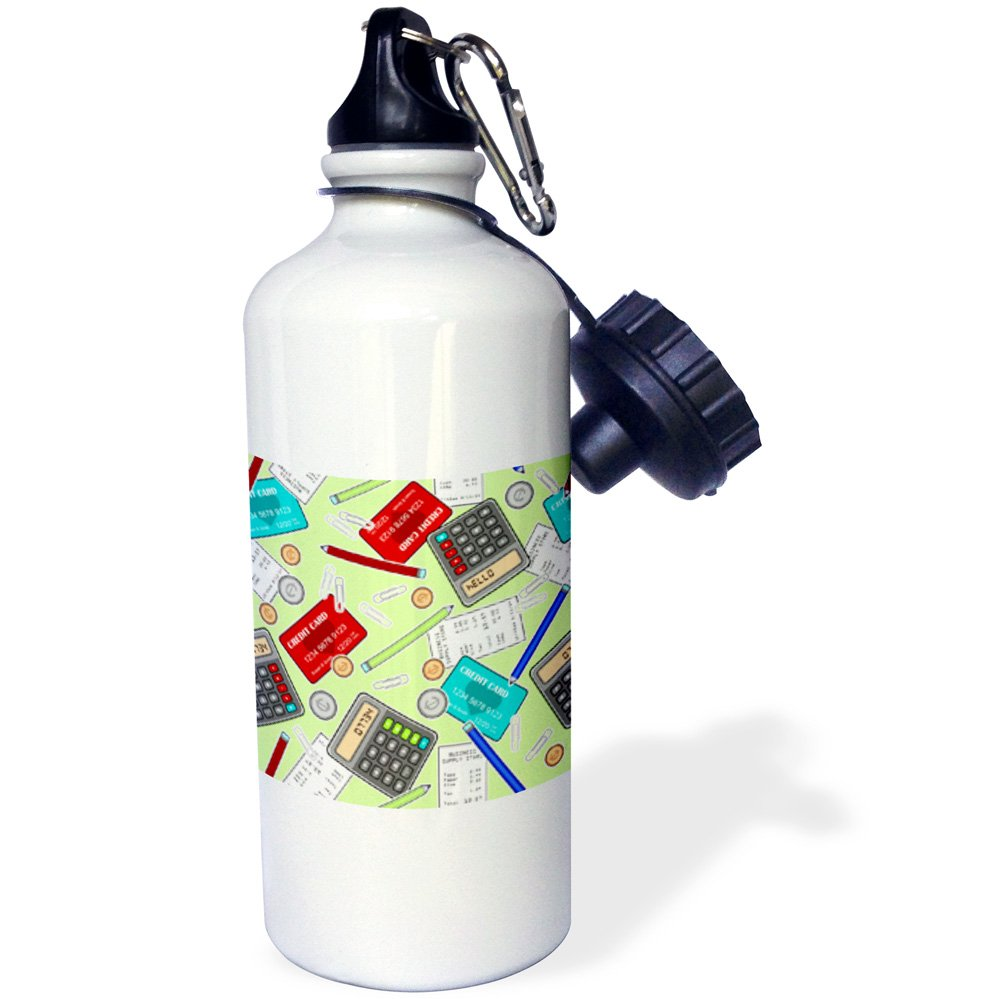 wb/_185466/_1 3dRose Accountant Themed Pattern Green-Sports Water Bottle 21oz 21 oz Multicolor