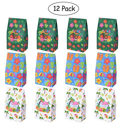 OULII Hawaiian Luau Treat Bags Hawaiian Hibiscus Tote Bags Candy Bags Paper Treat Sacks Gift Bags for Birthday Wedding Party Favor 12PCS