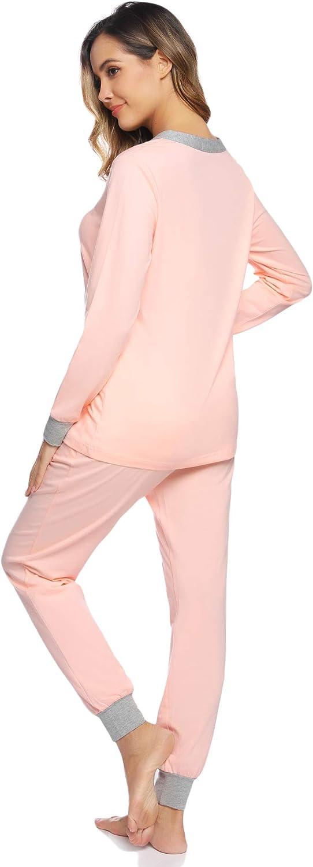 Hawiton Damen Schlafanzug Pyjama lang Nachtw/äsche Set Sleepwear Loungewear aus Baumwolle