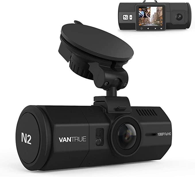 """Vantrue N2 Uber Dual Dash Cam-1080P Inside and Outside Dash Camera for Cars 1.5"""" Near 360° Wide Angle Lyft Dashboard Cam w/Parking Mode, Motion Detection, Front Camera Night Vision Effects: Buy Online at Best Price in KSA - Souq is now Amazon.sa"""