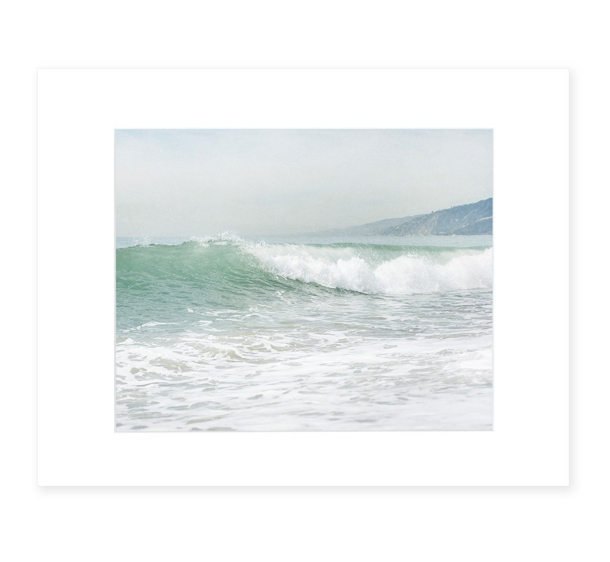 Coastal Ocean Waves Wall Art, California Beach Decor, Malibu Pacific Palisades Landscape Picture, 8x10 Matted Photographic Print (fits 11x14 frame), 'Breaking Surf'