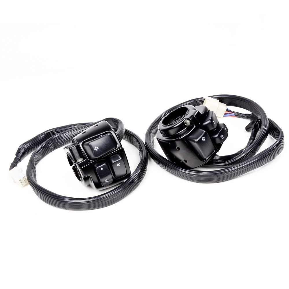 1 Pair Motorcycle 1 Handlebar Switches Control and Wiring Harness Compatible with Harley