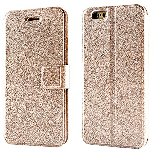 CaseHQ Case for iPhone 7, iPhone 8, PU Leather Wallet Case with Kickstand and Flip Magnetic Closure Holders Pockets Folio Drop Protection Cover for iPhone 7 (2016)/iPhone 8(2017) - Champagne