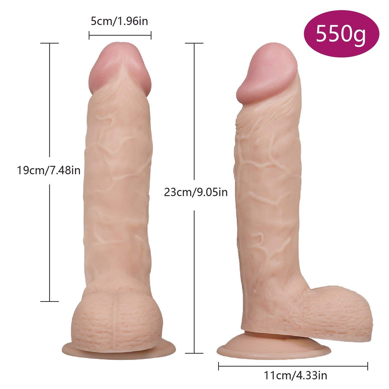 Plswg Silicona Xdxyn Silicona Plswg de Dos Capas con testículos regordetas, consolador Anal de pene de Enchufe Dong Real,23cm 5ba946