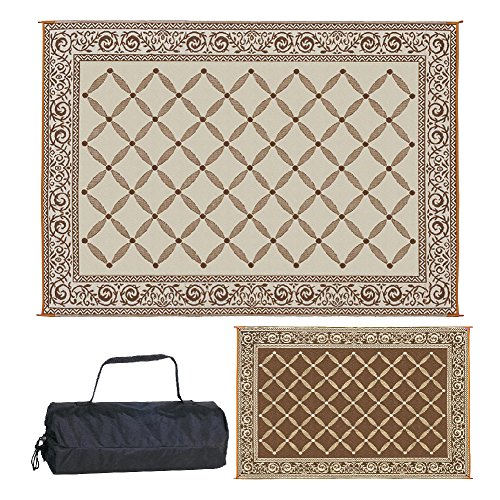 Reversible Mats 119127 Outdoor Patio 9-Feet x 12-Feet, Brown/Beige RV Camping Mat (Mission Style Rug)