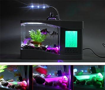 NAOZHONG Pecera pequeña regalos de los acuario de biotopo ornamentales del calendario de acuario USB mini , black: Amazon.es: Hogar