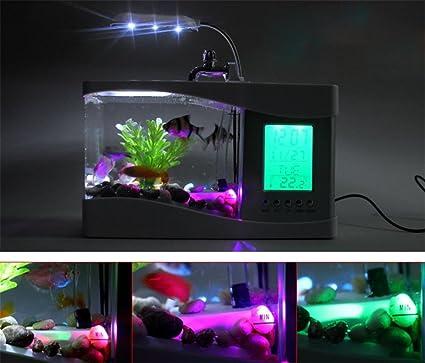 NAOZHONG Pecera pequeña regalos de los acuario de biotopo ornamentales del calendario de acuario USB mini