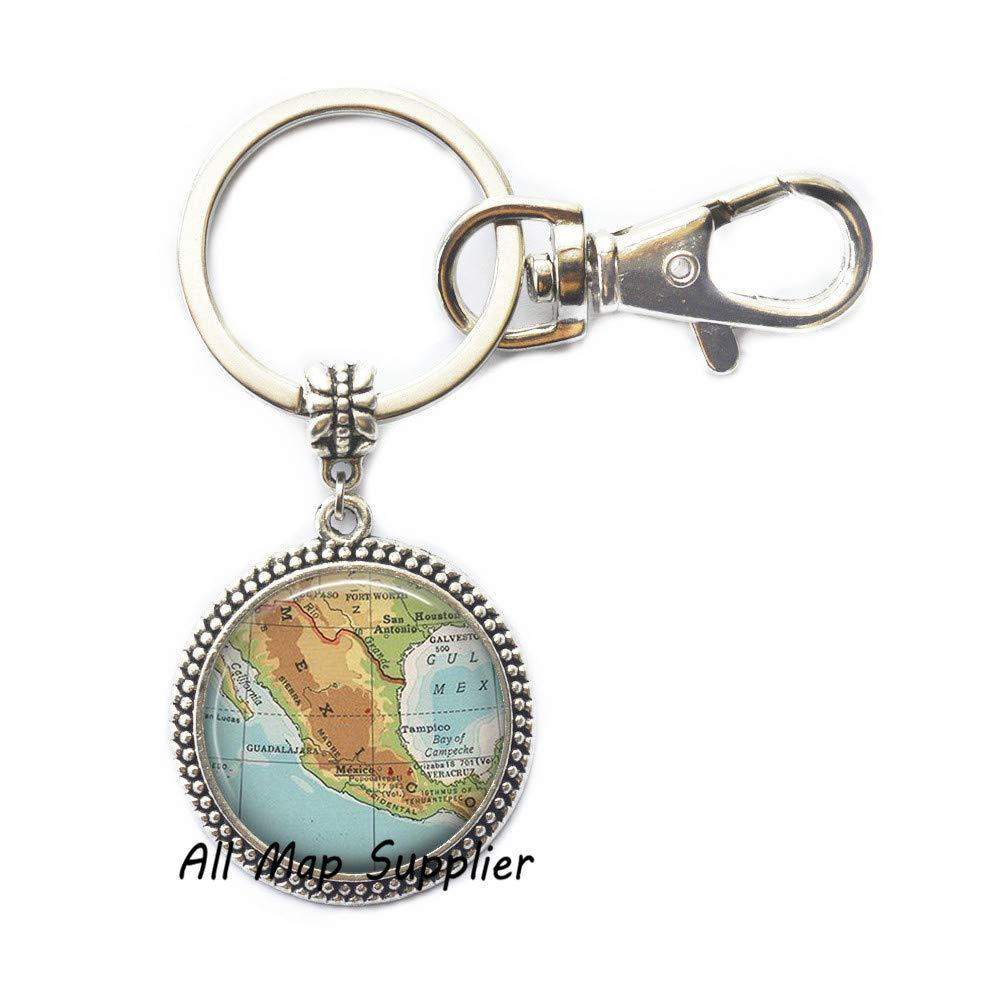 Amazon.com: AllMapsupplier Charming Keychain,Mexico map Key ...
