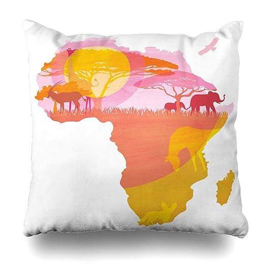 Funda de almohada Árbol Acacia África Continente Puesta de ...