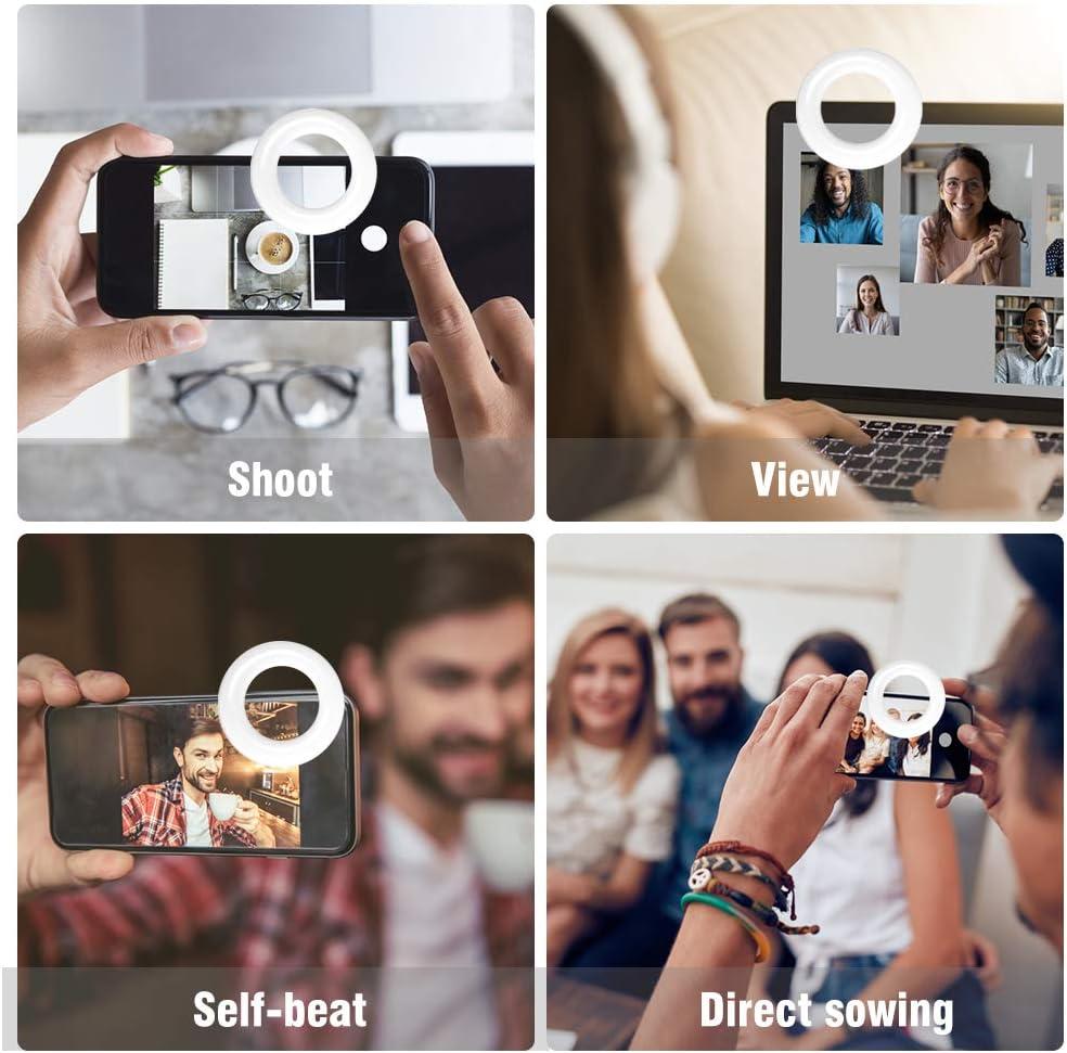 recargable port/átil clip en 60 LED C/írculo Luz con 3 modos de luz para iPhone//Android Smart Phone Fotograf/ía c/ámara de grabaci/ón de v/ídeo Selfie Ring Light VLOG
