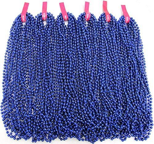72 Necklaces Mardi Gras Beads Royal Blue Disco 6 Dozen Throw 33