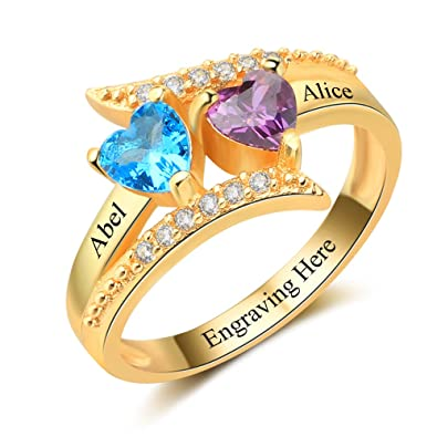 81917da45c3ff Diamondido Personalized Family Mother Rings with 2 Simulated Birthstone  Custom Names Promise Ring for Her