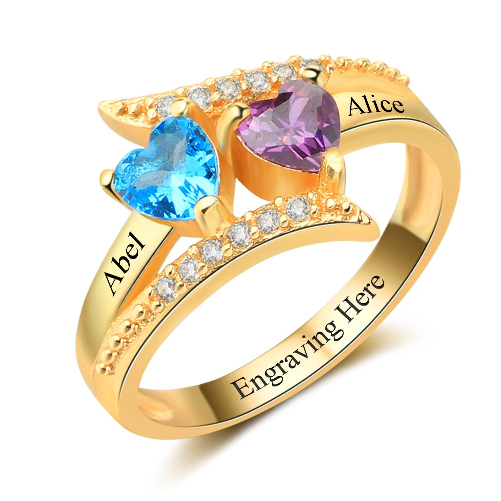 Diamondido Personalized Family Mother Rings with 2 Simulated Birthstone Custom Names Handmade Promise Ring for Her (Gold, 8)
