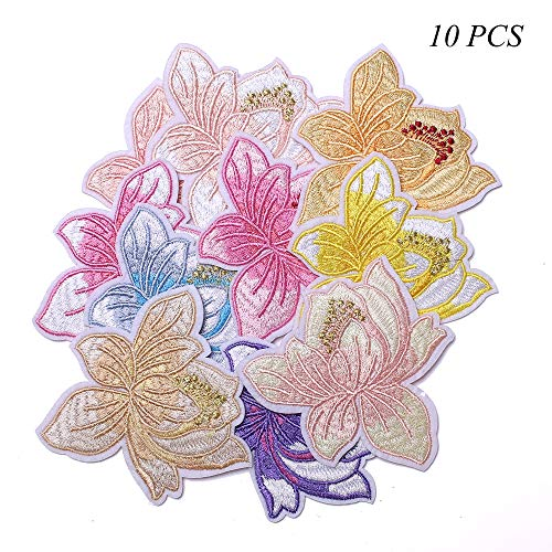 J.CARP Embroidered Iron on Patches, Cute Sewing Applique for Clothes Dress, 3.14 inch Flowers