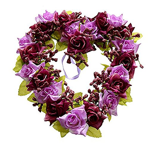 Meiyiu Romatic Simulated Heart-shape Garland Used For Wedding Scene Decoration, Wedding, Wedding room decoration Purple (Front Door Halloween Decorations Pinterest)