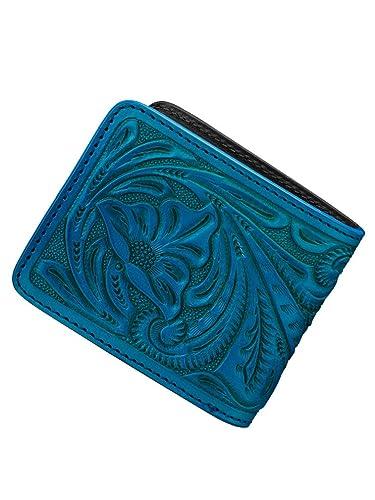 62ade723bb59 Bizarre ビザール カービング レザー 二つ折り ショート ウォレット ターコイズ 財布 メンズ レディース LWG030TQ