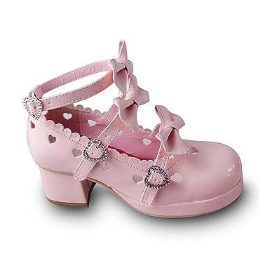 3959283427 Antaina Low Heel Pink PU Heart Hollow Bows Sweet Chunky Lolita Platform  Shoes,US6
