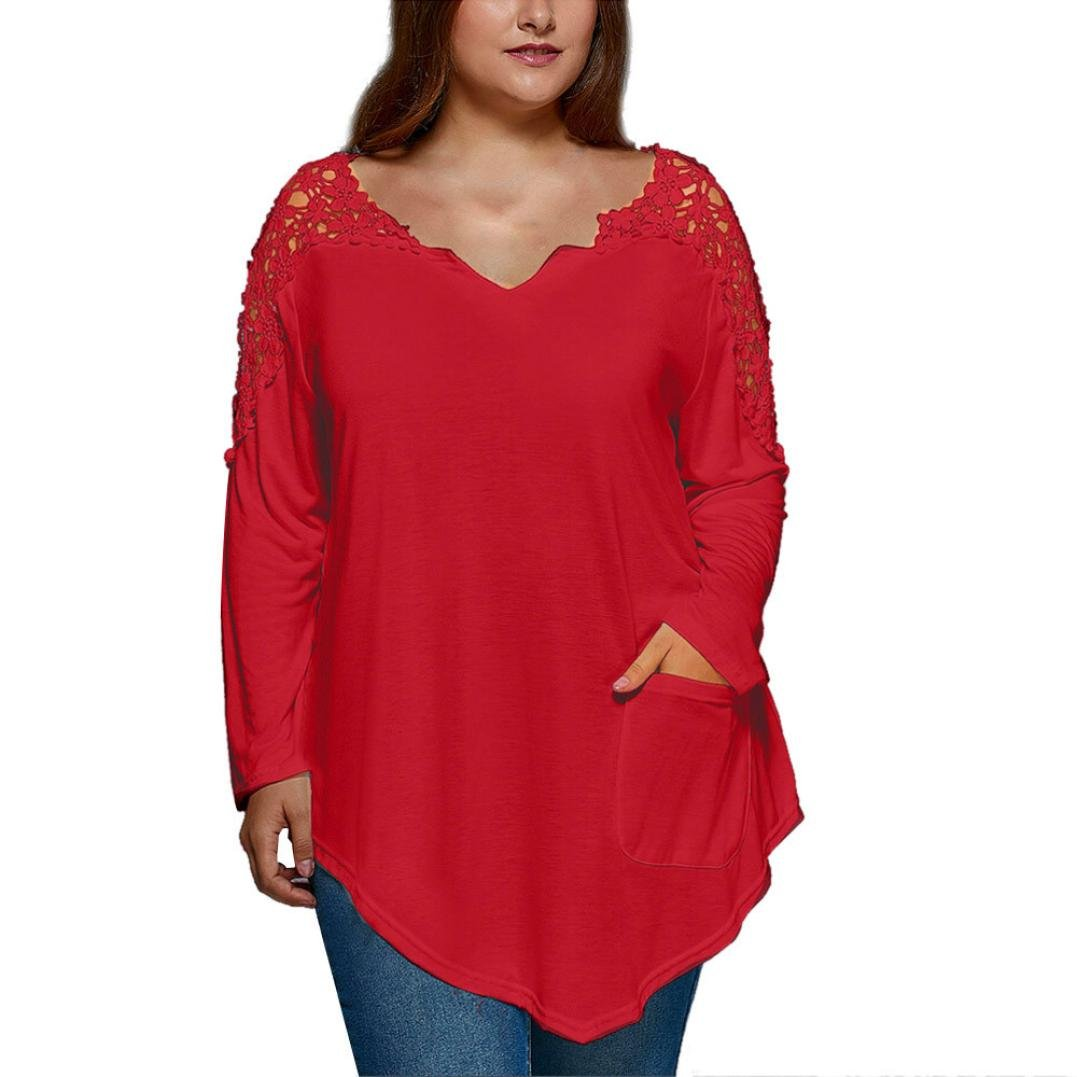 Anxinke Womens Lace Patchwork Hollow Out Long Sleeve Shirts Top V Neck Curved Hem Blouse Plus Size (Red, XL)