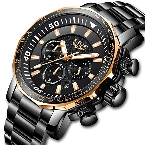 Watch Men Stainless Steel Chronograph Sport Quartz Mens Watches Top Brand Luxury LIGE Waterproof Military Wristwatch Man Gold Black Clock by LIGE