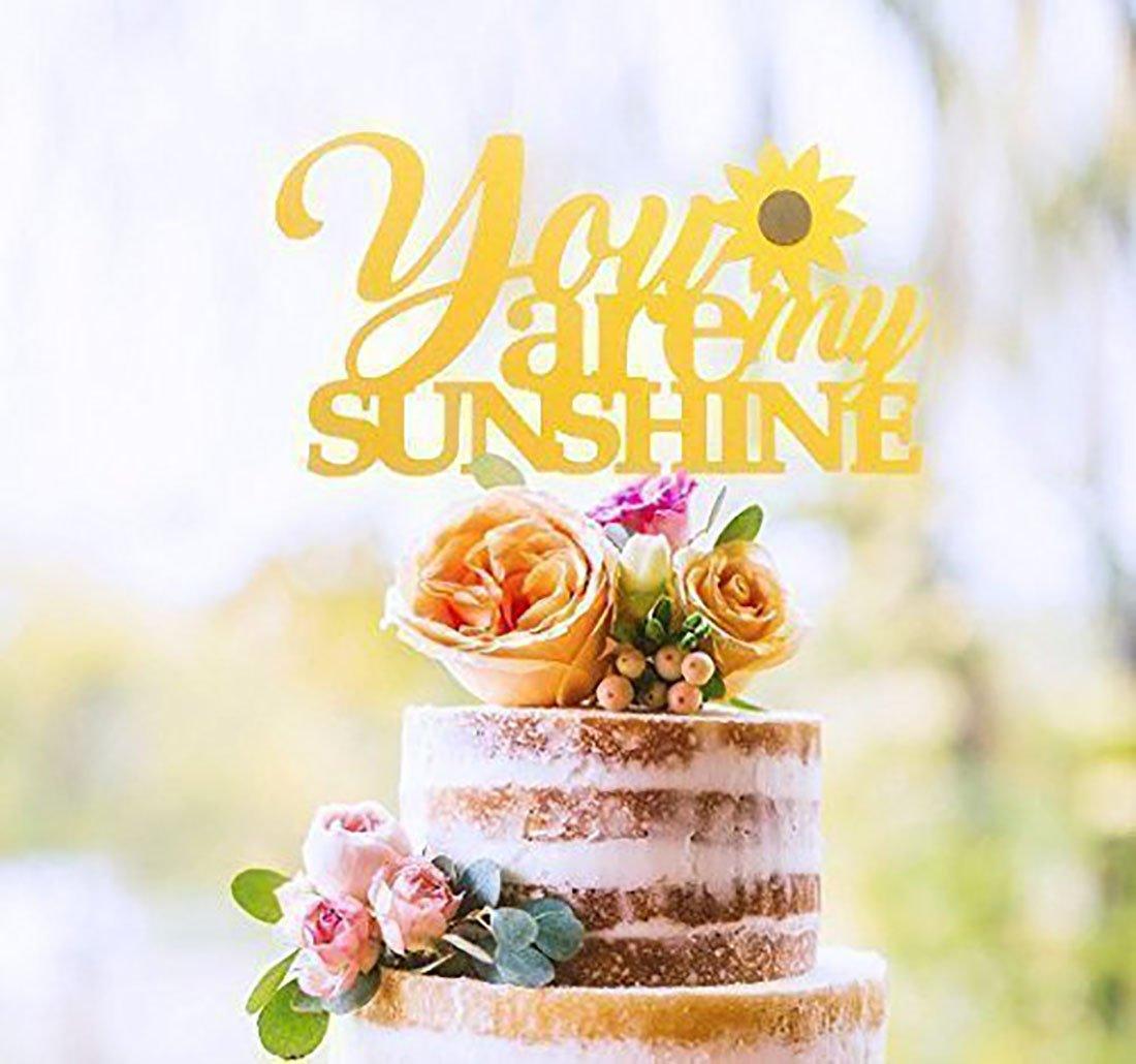 Amazon.com: KISKISTONITE You Are My Sunshine Baby birth Cake Topper ...