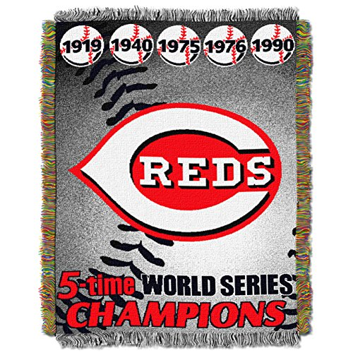 Officially Licensed MLB Cincinnati Reds Commemorative Woven Tapestry Throw Blanket, 48