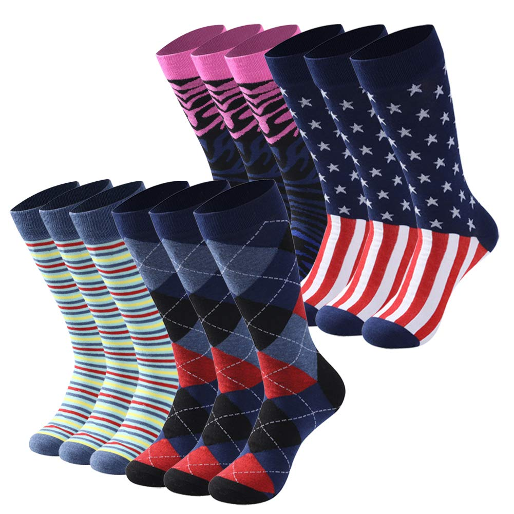 Diwollsam Novelty Socks Pack, Women Men Fashion Patterned Argyle Flag Stripe Solid Ribbed Smooth Business Dress Sport Party Mid Calf Socks, 12 Pairs(Fun Style, M) by diwollsam