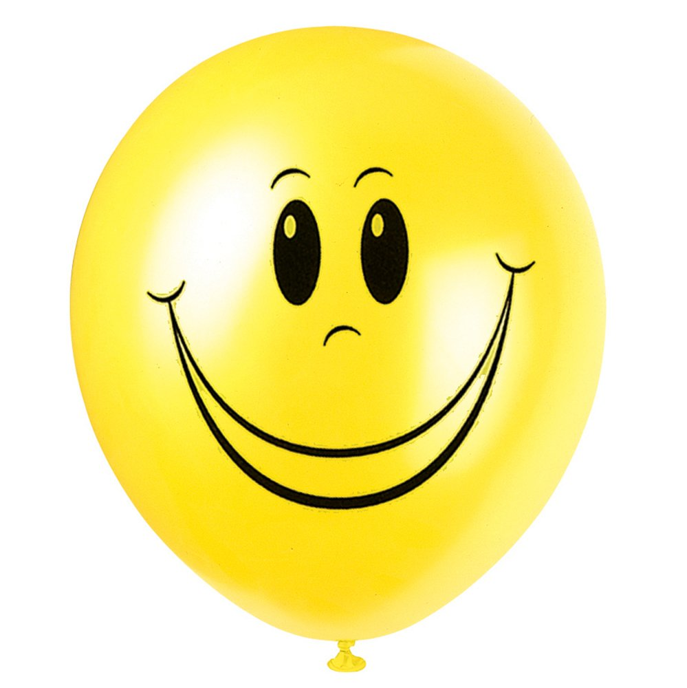 12' Latex Yellow Smiley Face Balloons, 8ct Unique 54631