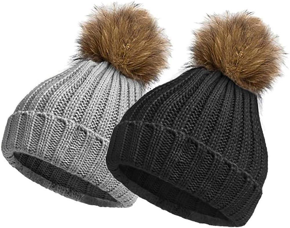 EINSKEY Bobble Hats for Women 2 Pack Ladies Winter Knitted Beanie Hat Pom Pom Hat Warm Woolly Cap Ski Snowboard Hats