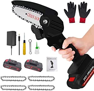 JGUSVYT Mini Chainsaw, 4 Inch Cordless Lightweight Chainsaw, Electric Protable Handheld Electric Saw for Garden Tree Branch Wood Cutting,Black