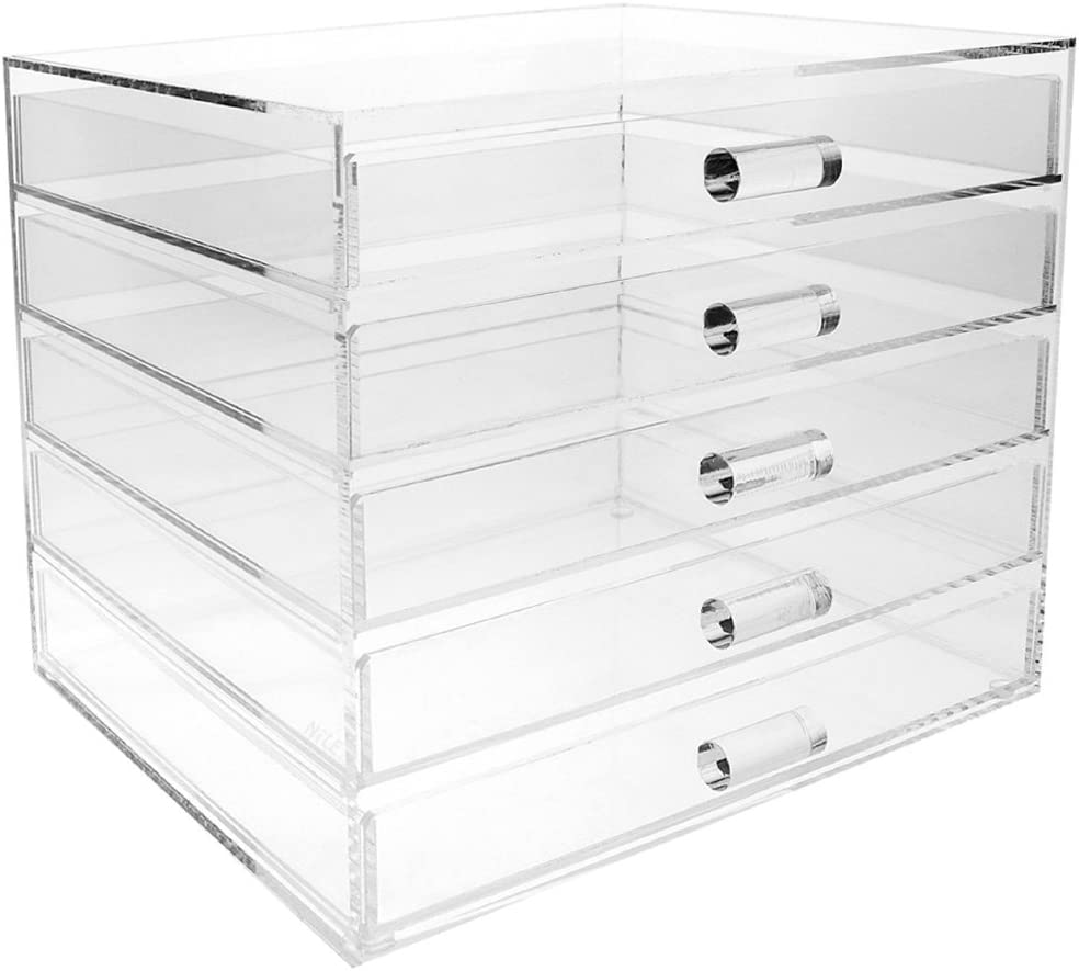 Ikee Design Premium Acrylic 5 Drawer Makeup Organizer Cosmetic Storage Jewelry Display Case