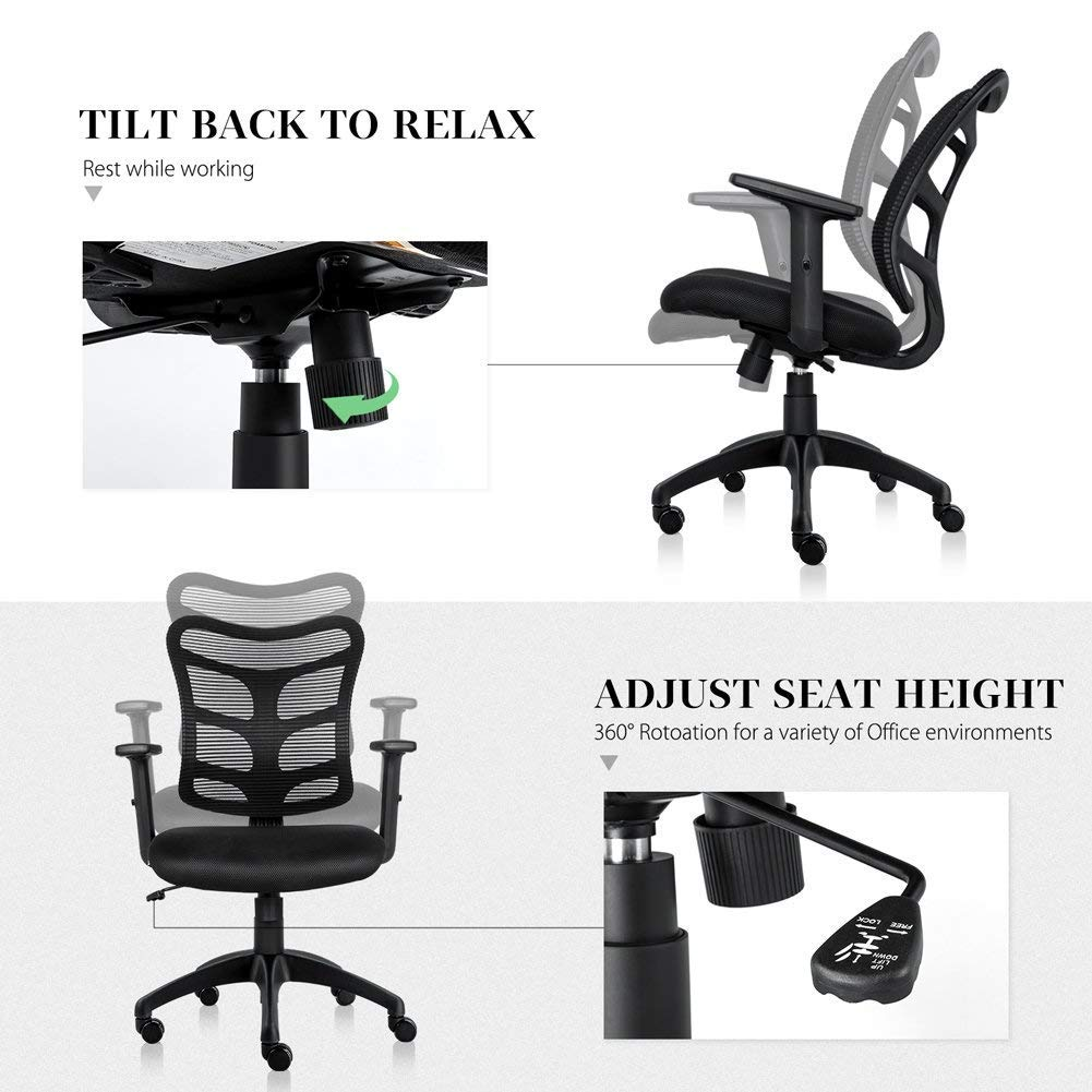 Ergonomic Office Chair Lumbar Support Mesh Chair Computer Desk Task Chair with Armrests by Smugdesk (Image #5)