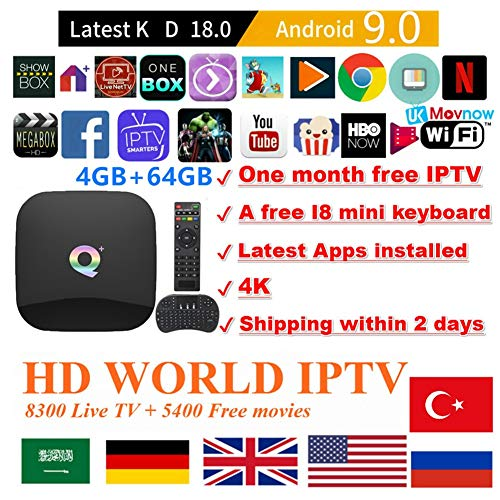 2019 Android 9.0 TV Box Qplus TV Box H6 Quad-core cortex-A53 4GB RAM 64GB ROM Smart tv Box Support 3D 4k Ultra HD H.265 2.4GHz WiFi Ethernet +1 Month IPTV Subscription+ Mini Wireless Keyboard Remote