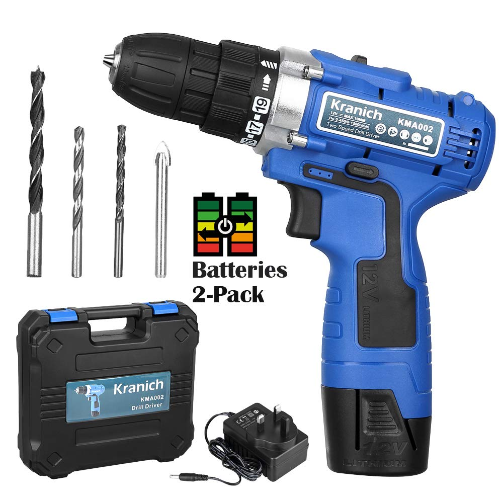 12V Lithium-Ion Rechargeable Cordless Electric Variable Speed Combi Drill Driver