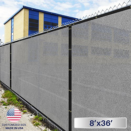 Windscreen4less Fence Privacy Screen 8' x 36',Light Gray,Pergola Shade Cover Patio Canopy Sun Block,180 GSM,95% Privacy Blockage,Mesh Fabric with Brass Gromment,Customized (Beige Post Gray 36')