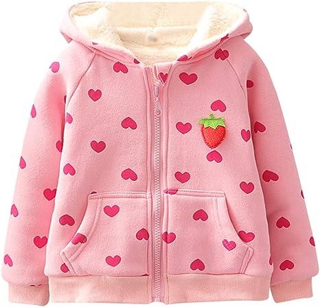 Baby Toddler Girls/' Sherpa Fleece Lined Jacket Kids Ears Hoodie Outwear Coat Winter Long Sleeve Sweatshirt Outfit